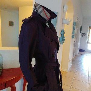 Burberry Plum Nova check collar rain trench coat 8